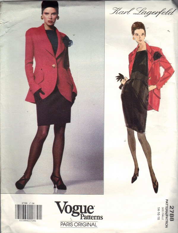 Vogue 2788 Karl Lagerfeld Dress Jacket Pattern 14-16-18 NEW - Click Image to Close