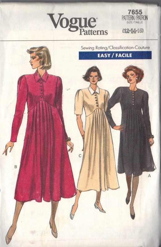 Vogue 7655 Maternity Dress Pattern 12-14-16 UNCUT - Click Image to Close