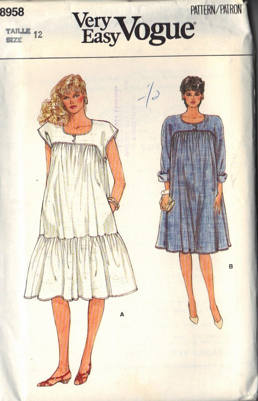 Vogue 8958 Maternity Dress Pattern UNCUT Size 12 - Click Image to Close