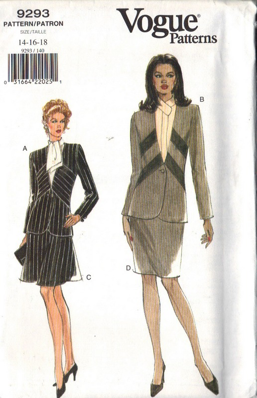 Vogue 9293 Suit Sewing Pattern Large Size - Click Image to Close