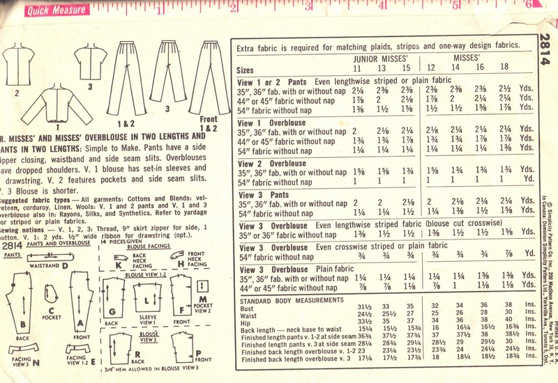 Retro Vintage Slim Pants, Top Pattern Sz 16 Simplicity 2814 - Click Image to Close