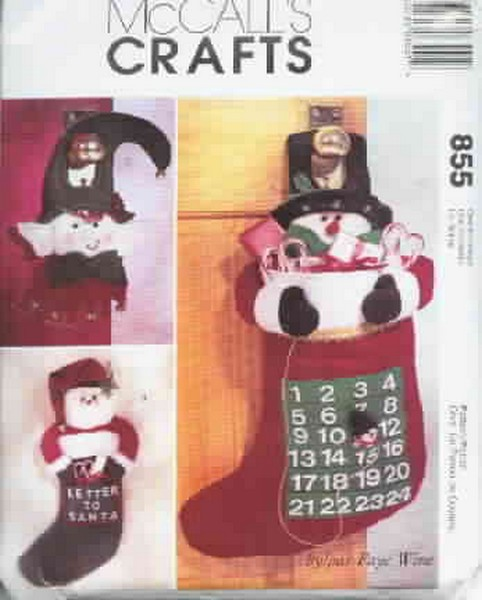 McCalls 855 Advent Calendar, Stocking & Door Hanging Pattern - Click Image to Close