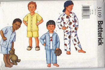 Butterick 3109 Boys Top Short Pants Pajama Pattern UNCUT