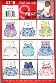 Butterick 3146 Infants Romper and Dress Pattern NEW