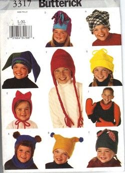 Butterick 3317 L-XL Boy Girl Hat Scarf Pattern NEW