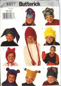 Butterick 3317 XS-S-M Children Hat Scarf Pattern NEW