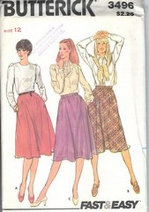 Butterick 3496 Skirt Pattern UNCUT