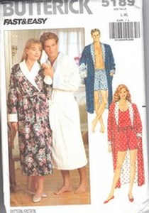 Butterick 5189 Unisex Robe Shorts Sewing Pattern UNCUT