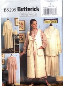 Butterick B5299 Z Historical Nightgown Vest Robe Bonnet Pattern