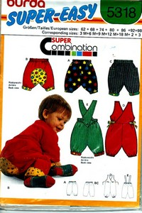 Burda 5318 Toddler Overall Pants Pattern UNCUT