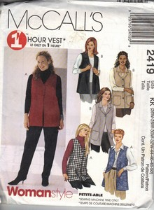 McCall's 2419 One Hour Vest Pattern XL UNCUT