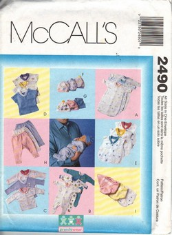 McCalls 2490 Preemie/Infant Layette Pattern UNCUT