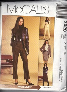 McCall's 3028 Size D Skirt Pant Suit Sewing Pattern UNCUT