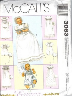 McCalls 3063 Christening Gown Pattern, Uncut