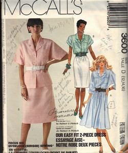 McCalls 3600 Two Piece Dress Pattern UNCUT