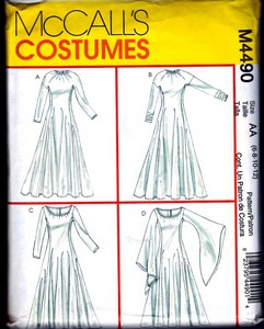 McCalls 4490 Size AA Medieval Angel Sleeve Dress.Pattern UNCUT