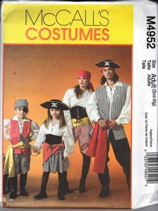 McCalls 4952 Adult Pirate Costume NEW