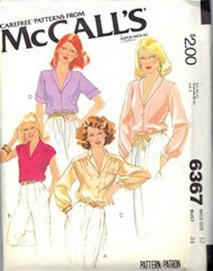 McCalls 6367 Blouse Pattern UNCUT