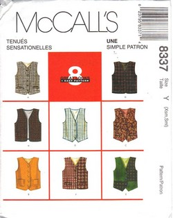 McCalls 8337 Size Y Childrens Vest Pattern UNCUT