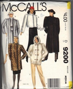 McCall's 9200 Faux Fur Coat Pattern UNCUT