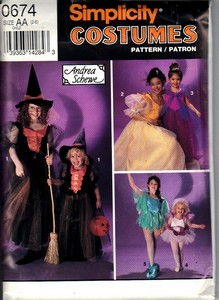 Simplicity 0674 Size AA Girl's Classic Halloween Costume Pattern