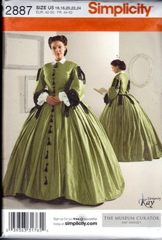 Simplicity 2887 Civil War Gown Costume Pattern NEW