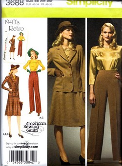 Simplicity 3688 Circa 1940's Reproduction Suit Pattern UNCUT