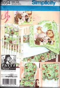 Simplicity 3954 Nursery Accessories Jungle Theme UNCUT
