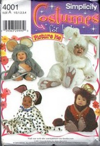 Simplicity 4001 Toddler Costumes Pattern Mouse Bunny Bear UNCUT