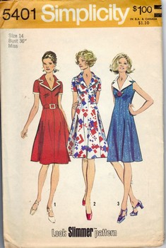 Simplicity 5401 Sz 14 Vintage Dress Pattern UNCUT