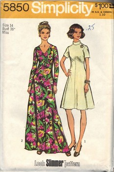 Simplicity 5850 Size 14 Vintage Look Slimmer Dress Pattern UNCUT