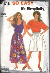 Simplicity 7096 Summer Separates Pattern UNCUT