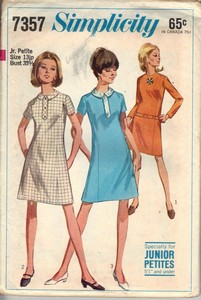 Simplicity 7357 Shift Sheath Dress Vintage Pattern