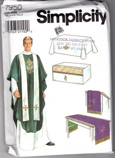Simplicity 7950 Altar Cloth Vestments Sewing Pattern UNCUT