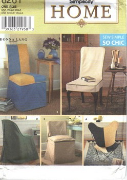 Simplicity 8261 Donna Lang Chair Cover Pattern UNCUT