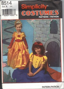 Simplicity 8514 Size A Girl's Princess Costume Pattern UNCUT