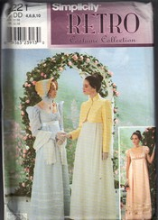 Simplicity 9221 Regency Dress Costume Pattern UNCUT