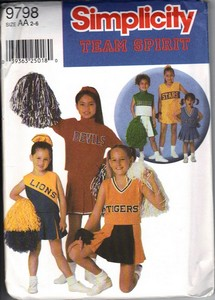 Simplicity 9798 Girl's Cheerleader Costume Pattern UNCUT