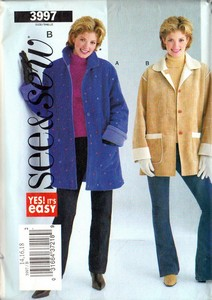 See Sew 3997 Size B Coat Jacket Sewing Pattern