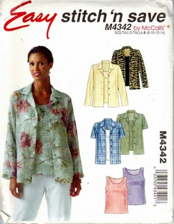 McCalls stitch 'n save 4342 Suze A Easy Top Pattern UNCUT