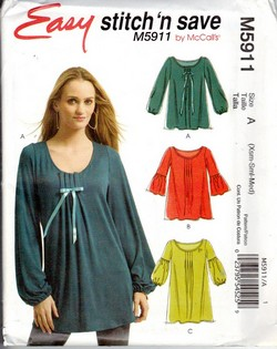 McCalls stitch 'n save 5911 Easy Top Pattern UNCUT