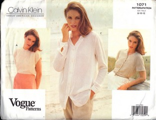 Vogue 1071 Calvin Klein Blouse Patternr UNCUT