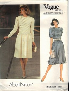 Vogue 1301 Albert Nipon Elegant Dress Pattern UNCUT