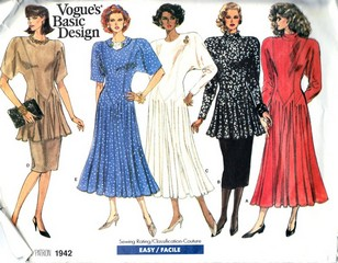 Vogue 1942 Basic Design Dress Skirt Pattern UNCUT