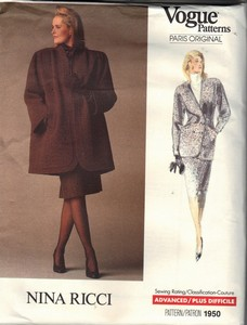 Vogue 1950 Nina Ricci Coat Suit Sewing Pattern