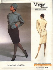 Vogue 1951 Emanuel Ungaro Suit Sewing Pattern