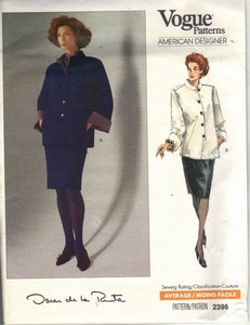Vogue 2396 Oscar de la Renta Suit Pattern UNCUT Medium