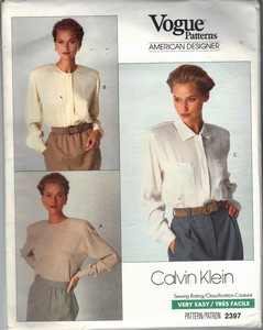 Vogue 2397 Blouse Pattern Medium UNCUT