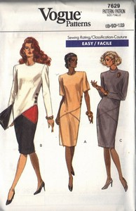 Vogue 7629 Slim Sheath Dress Pattern 8-10-12 UNCUT