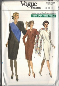 Vogue 7640 Sheath Dress Asymmetrical 8-10-12 UNCUT